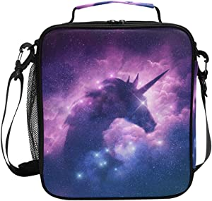 Lunch Box Bag Insulated Lunch Tote Mysterious Unicorn Purple Galaxy Thermal Cooler Shoulder Strap Portable Food Container Travel Office School Picnic For Women Kids Children
