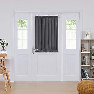 Deconovo Door Curtains Thermal Insulated Blackout Curtain Door Window Panel Curtain 54x40 Inch Dark Grey 1 Panel