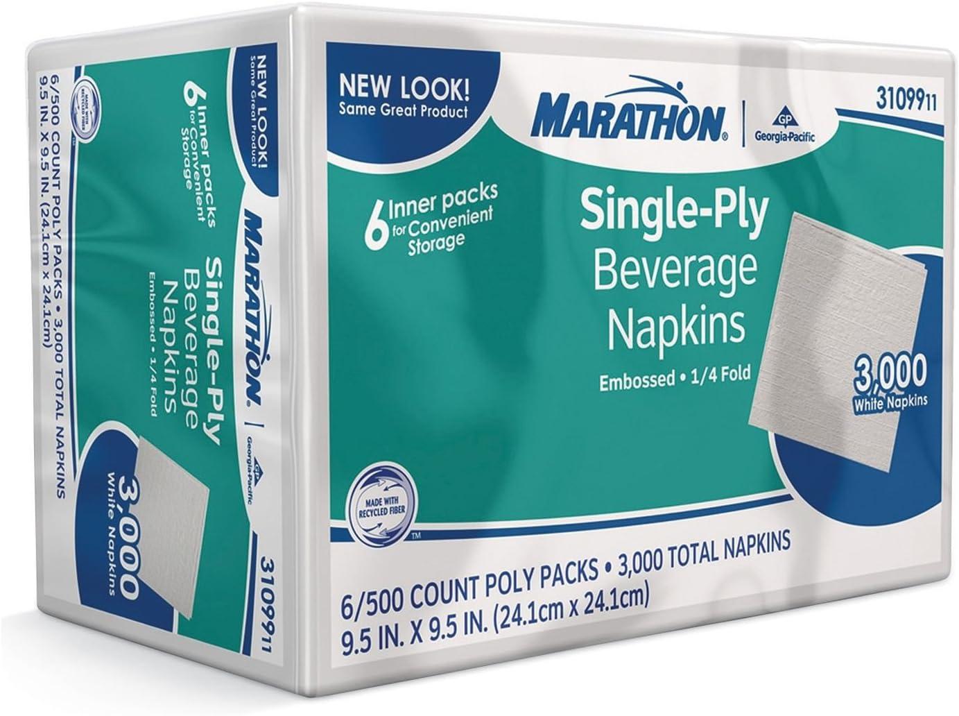Marathon Beverage Napkin, 1/4 Fold (3,000 Napkins) x2 AS