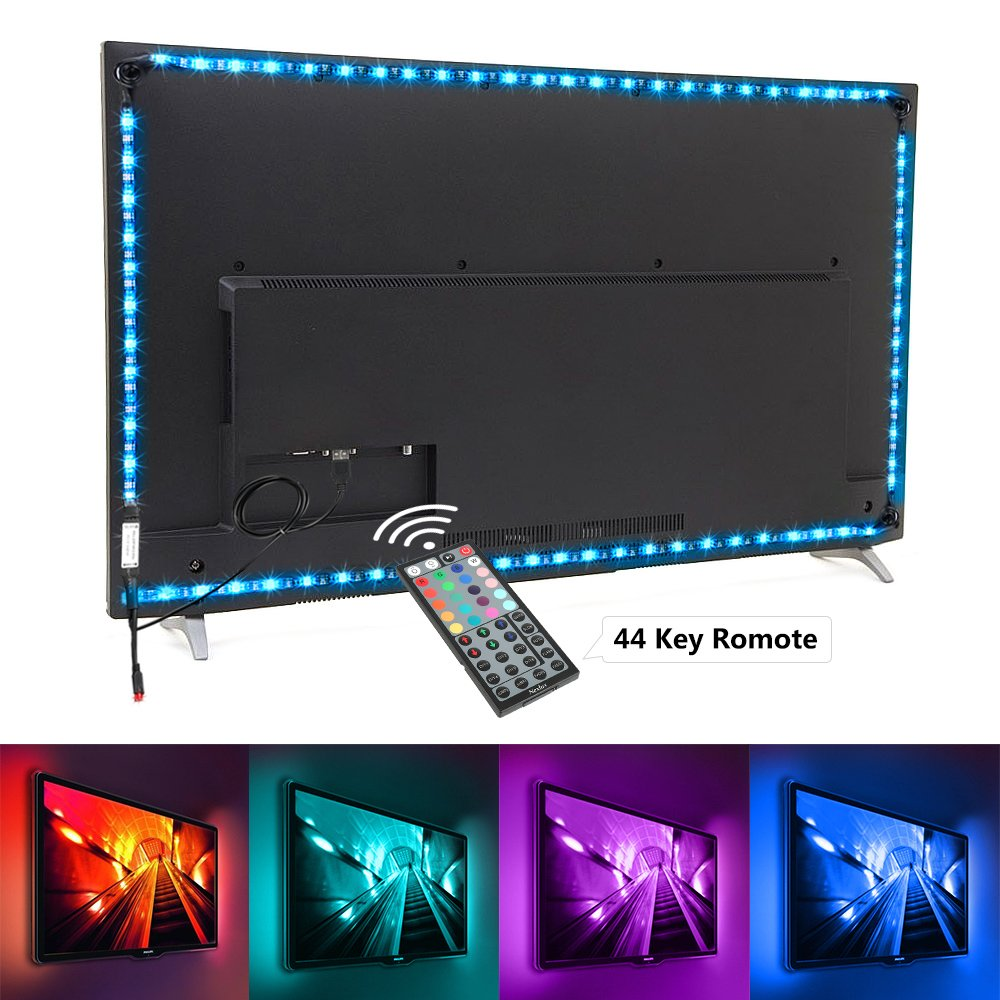 Nexlux TV Backlight, 9.8ft Black Non-Waterproof USB LED Strip Lights Kit 20 Colors 5050 LEDs Bias Lighting with 44-Key IR Remote Controller for 46 inch~65 inch HDTV PC Monitor Home Theater Decoration YPL0066M-1