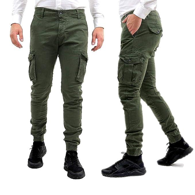 63d543e3be1ff8 Pantaloni Uomo Cargo con Elastico alle Caviglie Verde Slim Fit Invernali Tasche  Laterali Militari con Tasconi