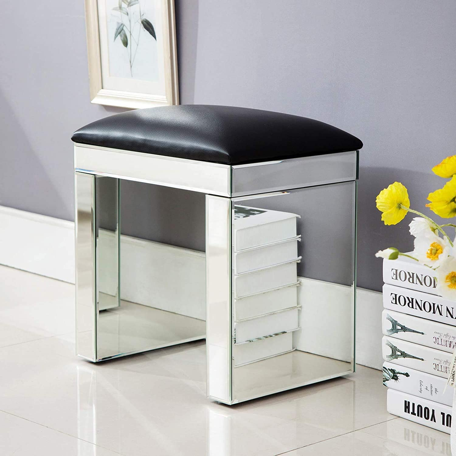 Mecor Mirrored Vanity Stool Silver Makeup Dressing Bench Padded Cushioned  Chair Modern Piano Seat for Living Room Bedroom