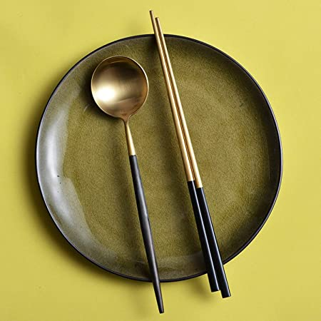 Acero inoxidable Negro Oro Cubiertos Tenedor Cuchara Cuchillo de Navidad de vajilla para el conjunto de vajilla de boda, cena de tenedor: Amazon.es: Hogar