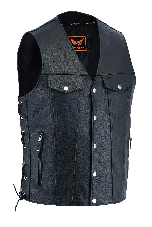A/&H Apparel Mens Genuine Cowhide Leather Vest Biker Vest Concealed Carry Durable Vest XXXX-Large
