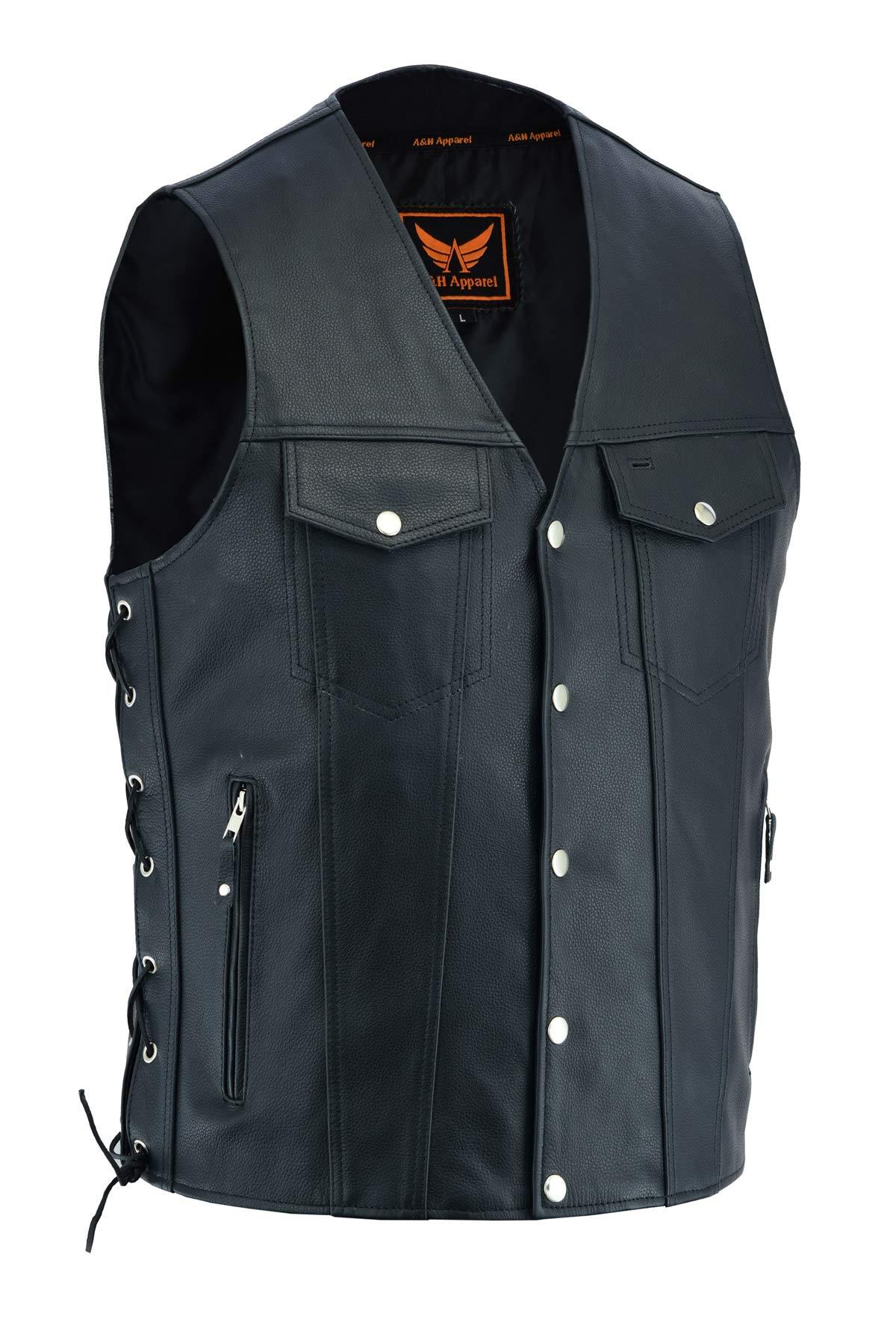 A&H Apparel Mens Genuine Cowhide Leather Vest Biker Vest Concealed Carry Durable Vest (XXX-Large)