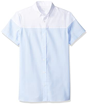 Calvin Klein Mens Short Sleeve Woven Button Down Shirt, Clear Sky Block, ...