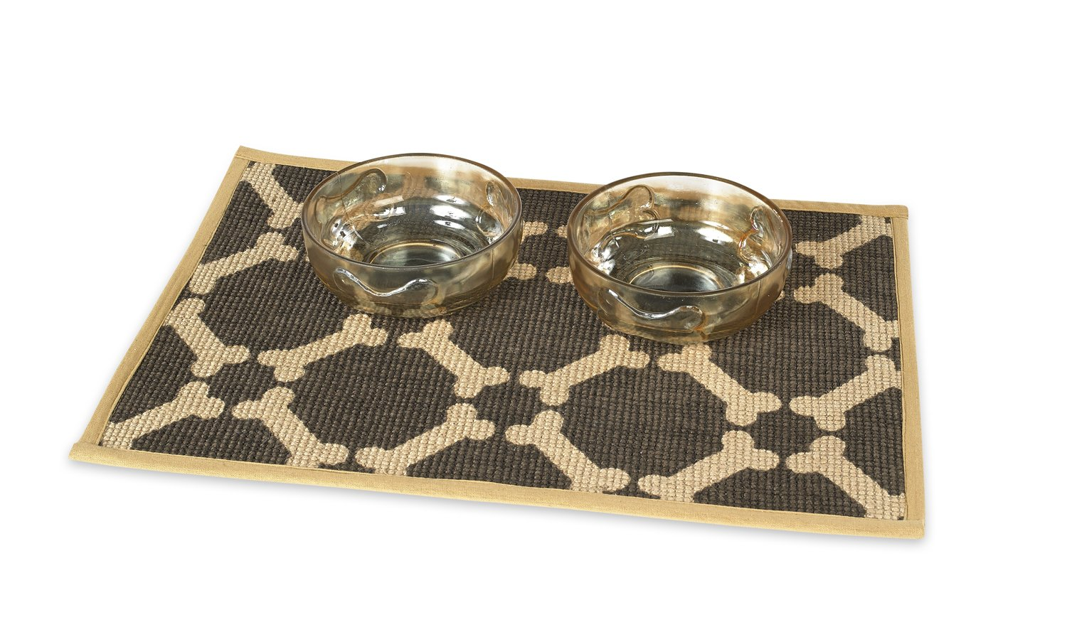 Buddy's Line Natural Jute Pet Placemat with Matching Bow-Wow Glass Pet Bowl Set, 1-Pint, Brown