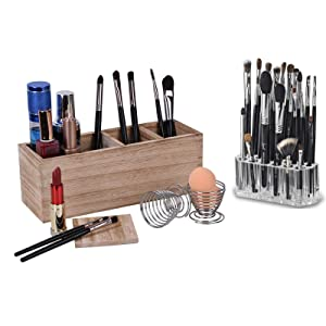 Wooden Cosmetic Display Cases Adjustable with a 26 Holes Acrylic Cosmetics Brushes Storage and 2 Metal Sponge Blenders, for Makeup Brushes, Eyeliners, lipstick, Nail Polish, Lotions