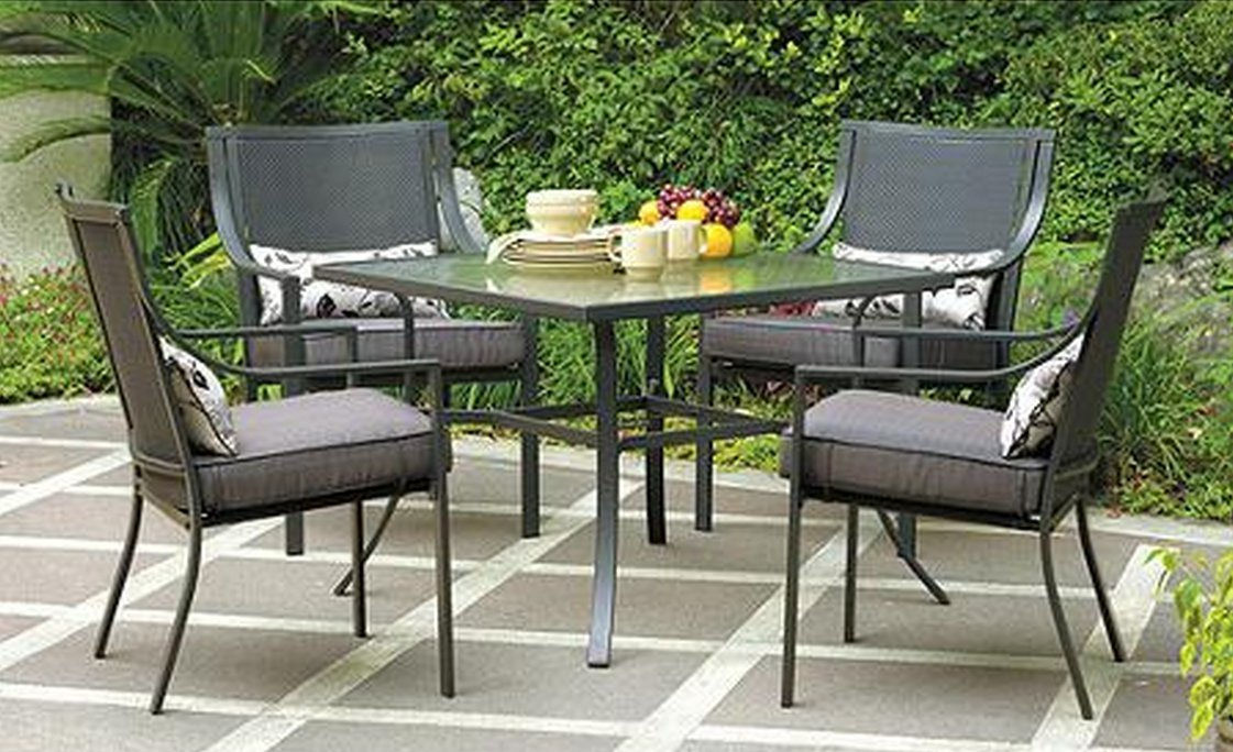 Amazon.com: Gramercy Home 5 Piece Patio Dining Table Set: Garden U0026 Outdoor