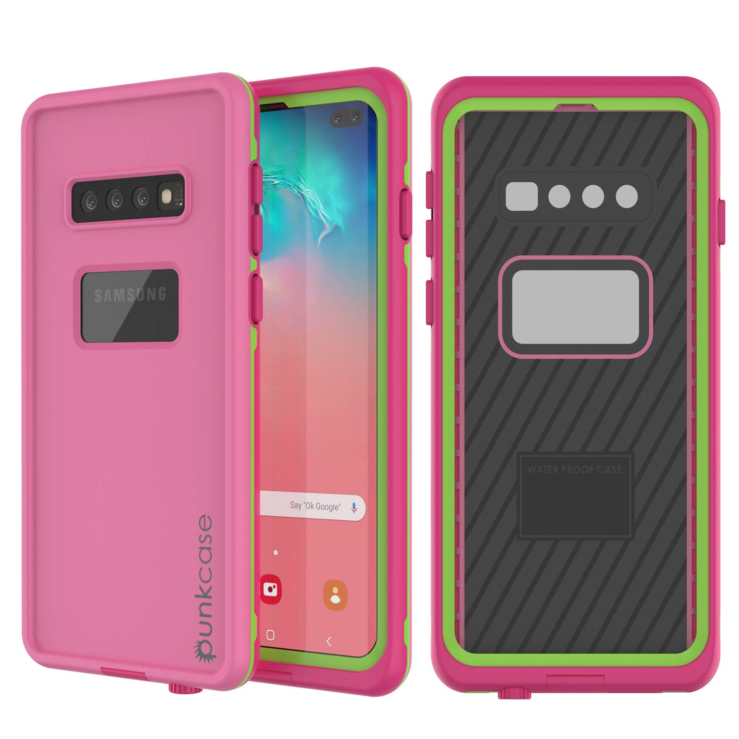Punkcase S10 Plus Waterproof Case [Aqua Series] [Slim Fit] [IP68 Certified] [Shockproof] [Dirt Proof] Armor Cover W/Built in Screen Protector Compatible W/Samsung Galaxy S10 Plus [Pink]