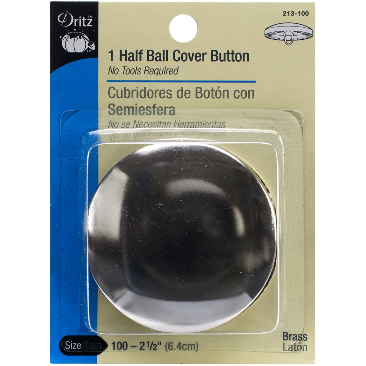 Dritz Cover Buttons, Half Ball - Size 100 (2-1/2) - 1 Ct. 213-100