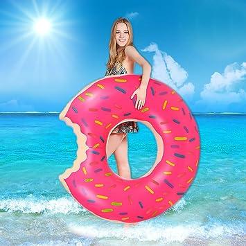 opamoo Anillo de natación, Donut Anillo de Natación Inflable de natación Donut Anillo de natación Inflable Donut para Adultos y Niños Gigante Pool ...