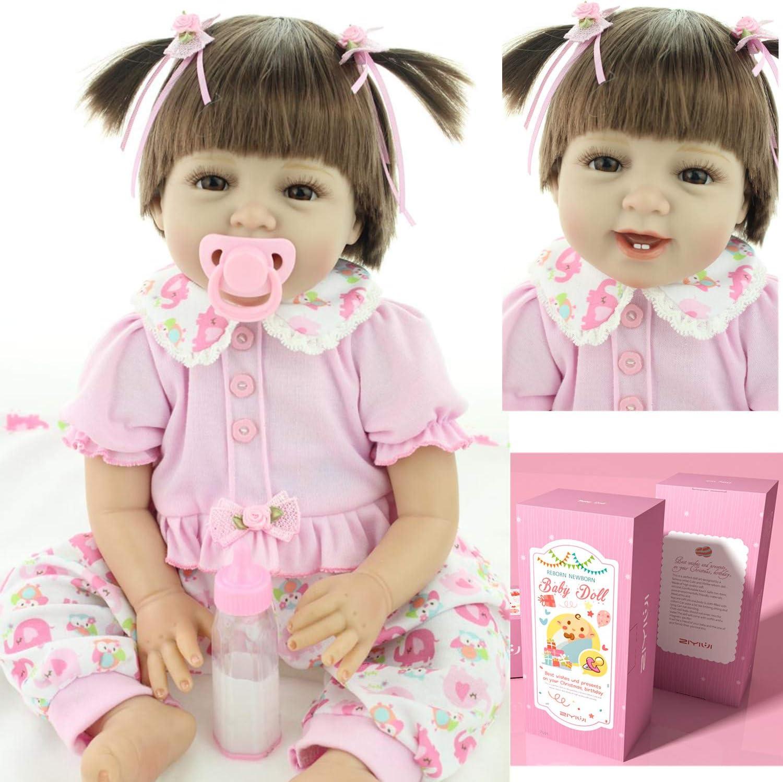 Reborn Baby Doll Realista Toddlers Renacer Muñecos bebé Vinilo de Silicona Suave Babies Niña Rosa Ropa Boca magnética Niños Juguetes 22 Pulgadas 55 cm