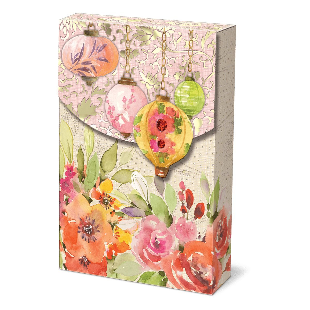 Punch Studio, Royal Peacocks, Decorative Pouch Note Cards, Set of 10 57938