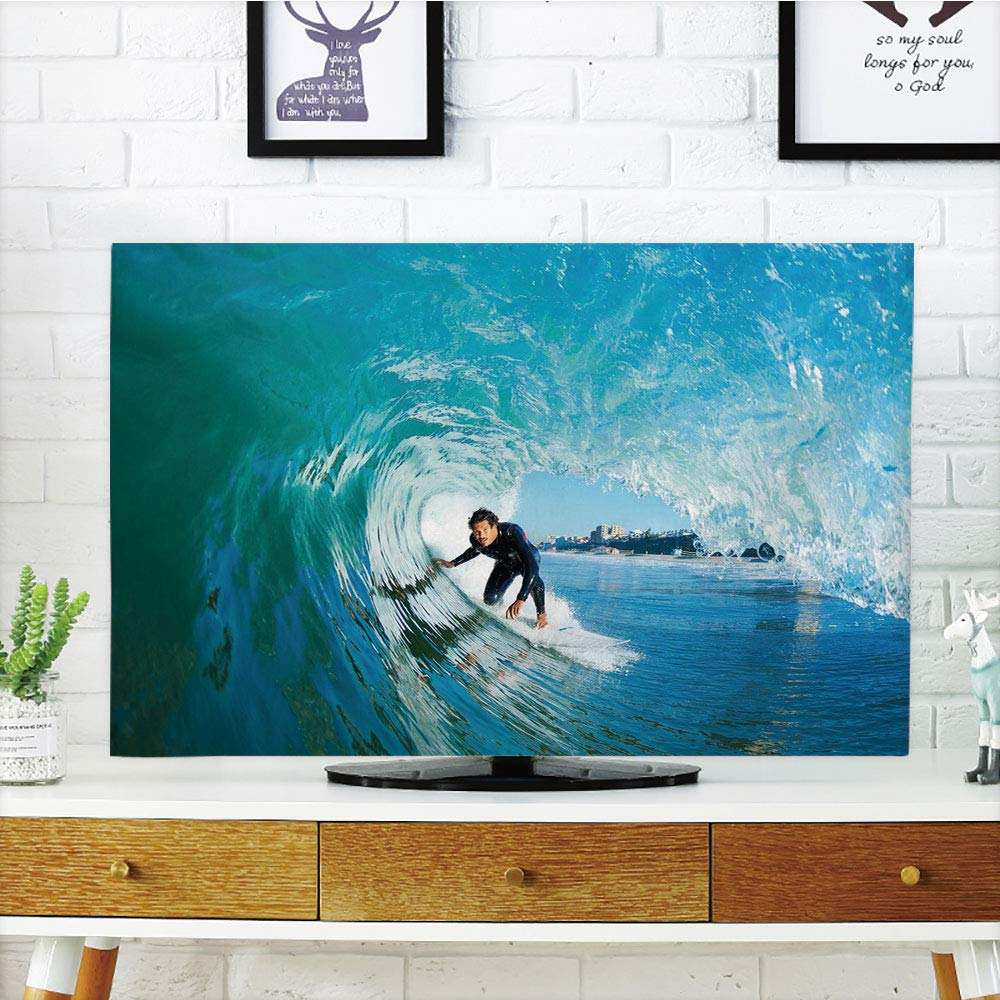 iPrint LCD TV dust Cover,Wave,Extreme Sportsman Surfer Inside Barreled Wave Fun Action Holiday Vacation,Turquoise Light Blue,3D Print Design Compatible 70'' TV