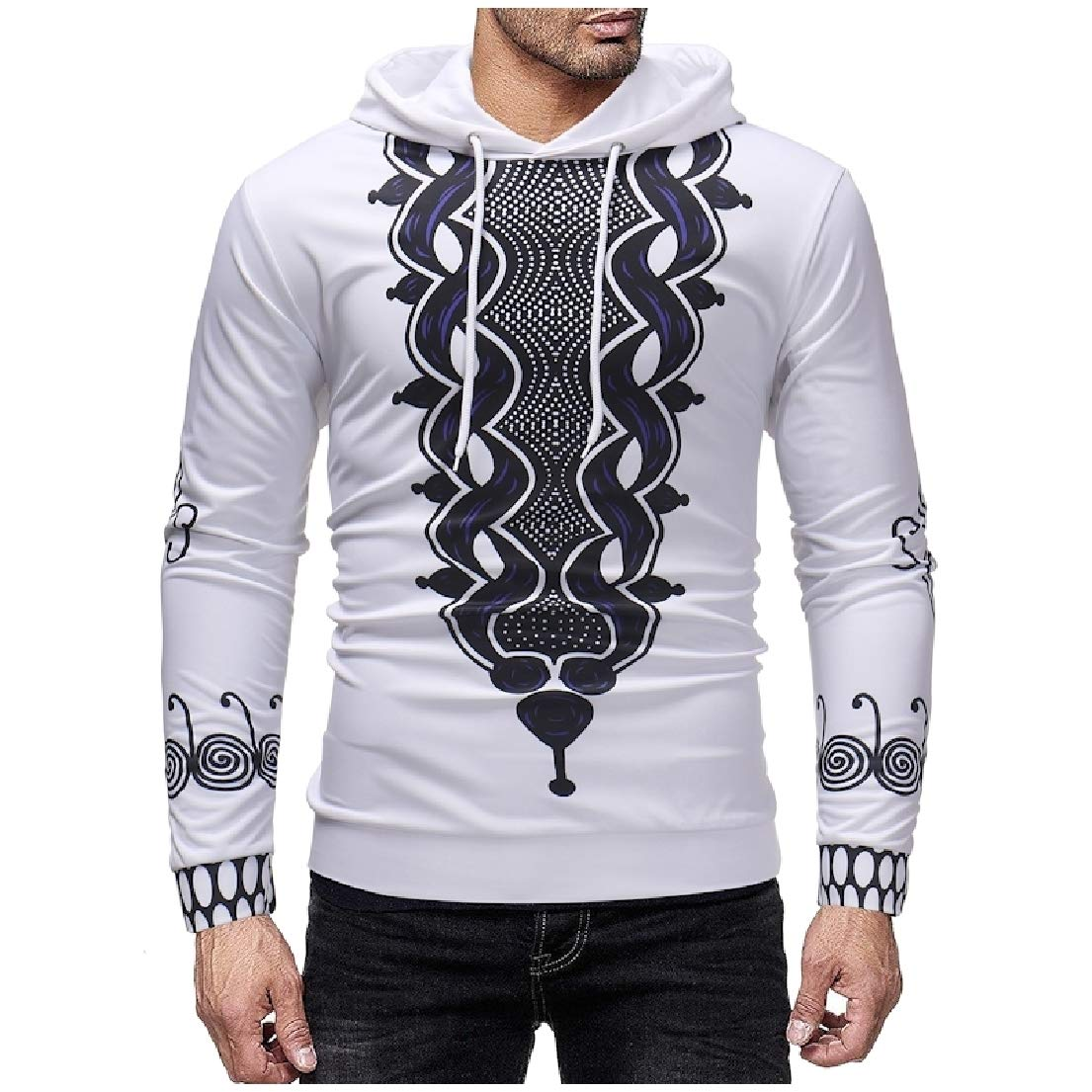 Vska Mens Digital Printed Plus Size Hooded Hoodie Shirt Top