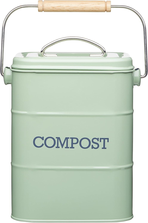 KitchenCraft Living Nostalgia kitchen compost bin made of metal, steel, green