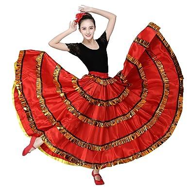 d58f47d80c32 Amazon.com: Women Red Belly Dance Dress Spanish Flamenco Costume Skirt with  Head Flower (360 Degree): Clothing