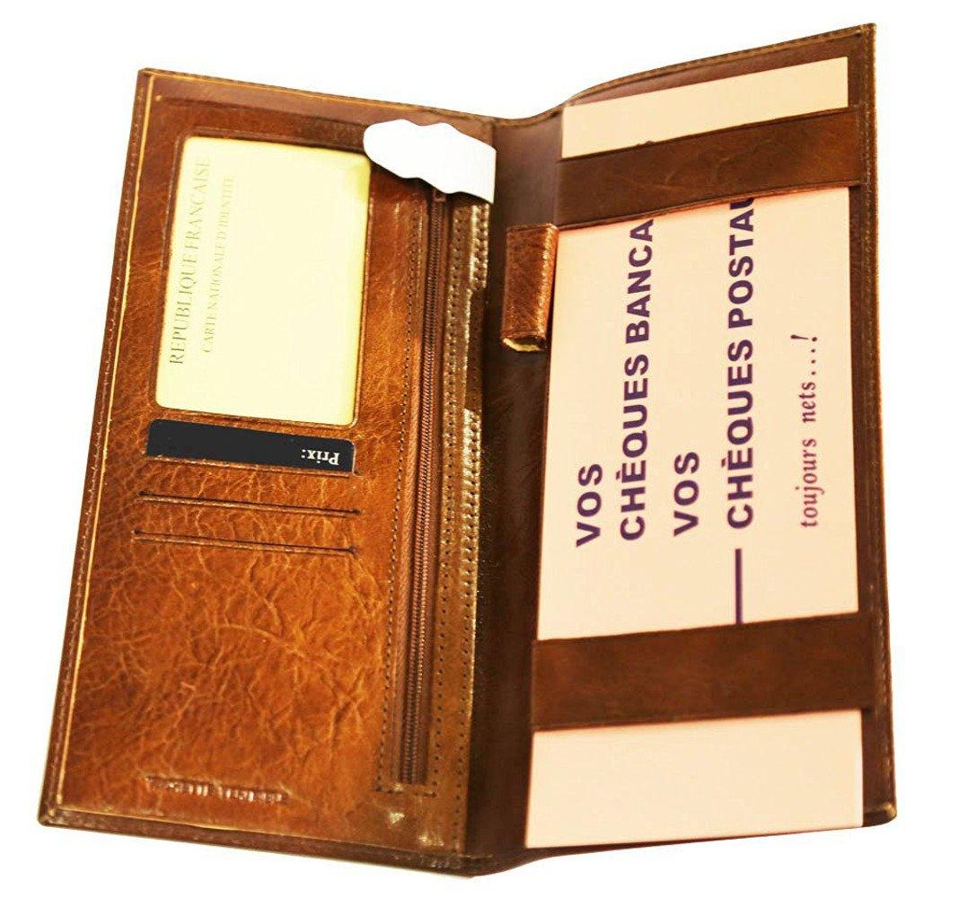 Porte Ch/équier Long pour Ch/équier Talon Gauche Cuir-Porte Monnaie-Porte Cartes-Couleur Marron-23,5cmx10,8cm VANITY
