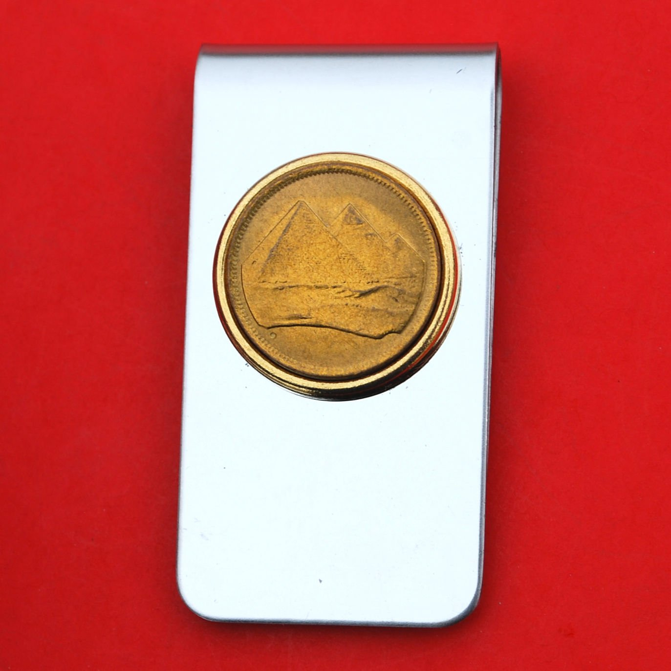 Egypt 1984 1 Piastre Gold Pyramids Gem BU Uncirculated Coin Stainless Steel Silver Money Clip New
