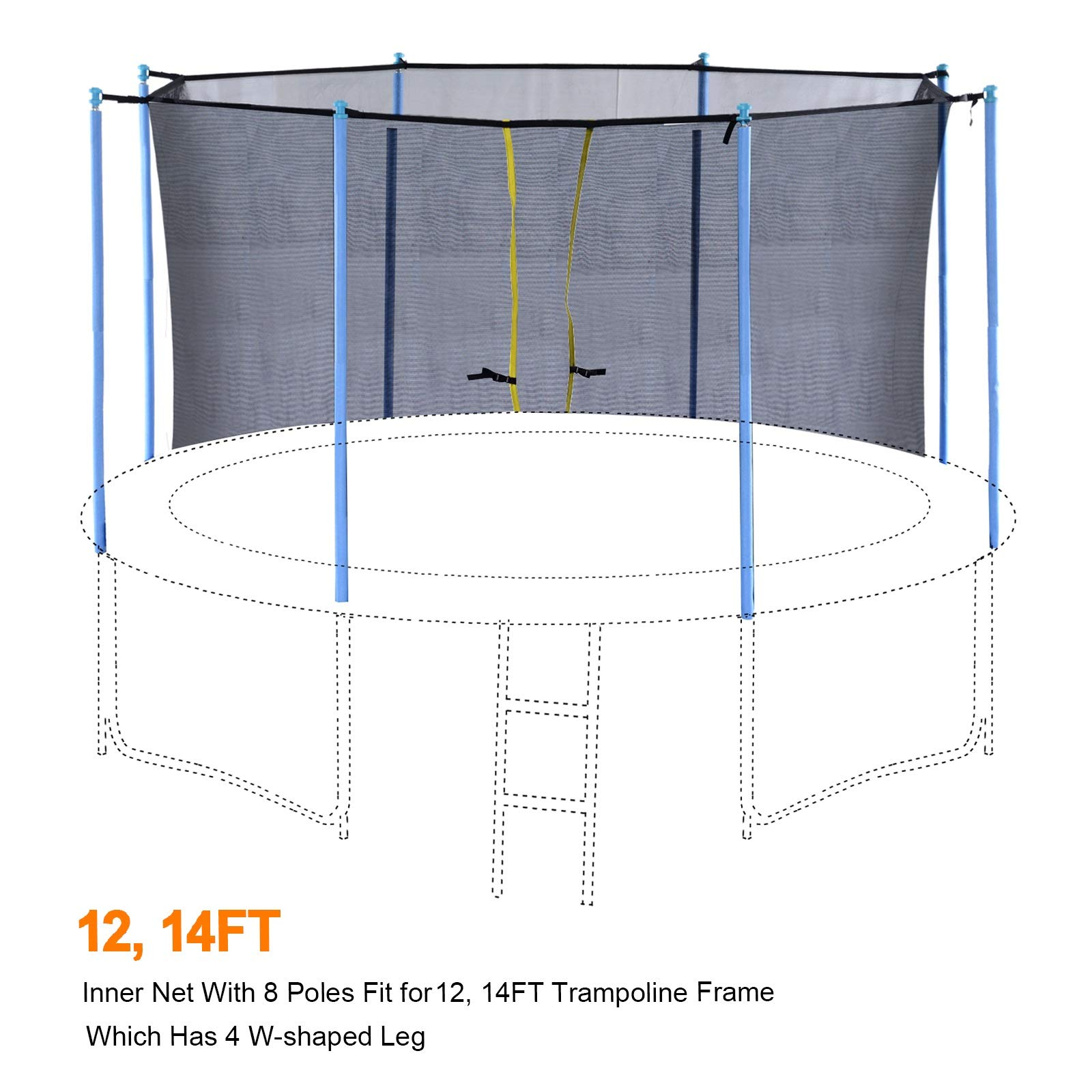 Exacme Inner Enclosure Safety Mesh Net with 6 Poles for C-Series 12 FT Trampoline 6181 by Exacme (Image #2)