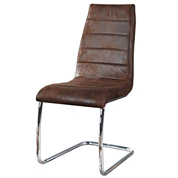 Moderner Design Freischwinger Stuhl TRINITY Braun Chrom Stuhl Küche