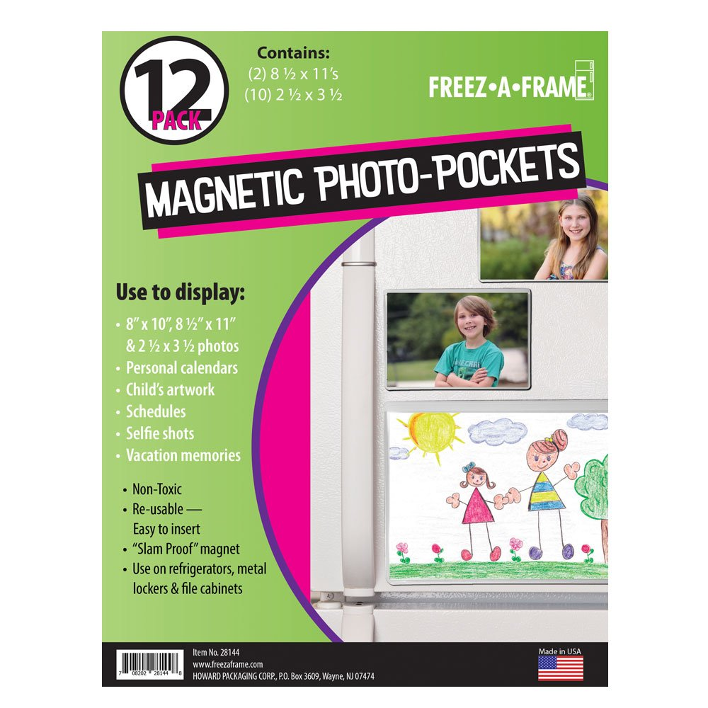 Freez A Frame Clear Magnetic Picture Frames 12 Pack (2) 8.5 x 11 (10) 2.5 x 3.5 - Photo Pockets for Metal Refrigerator, Lockers & File Cabinets
