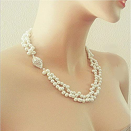 5d0b64abb Amazon.com: White Ivory Pearl Bridal Necklace, Double Strands, Rhinestone  Wedding Bridesmaids Jewelry Gift: Handmade