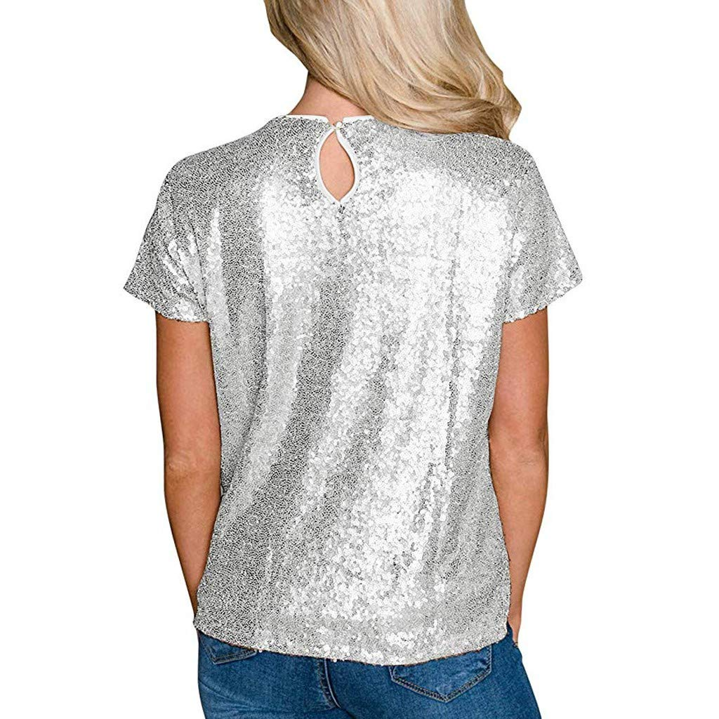 Tops for Women Short Sleeve Cute,Womens Casual Short Sleeve T Shirts O Neck Party Sequin Tunic Elegant Blouses