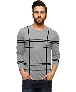 REBOZO Men's Full Sleeve Round Neck Printed T-Shirt (Grey, XL)
