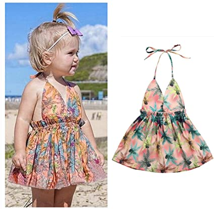 896f3801cc5b Franterd Baby Strap Dress for little Girl Toddler Kids Floral Printing  Pageant Party Princess Sundress (