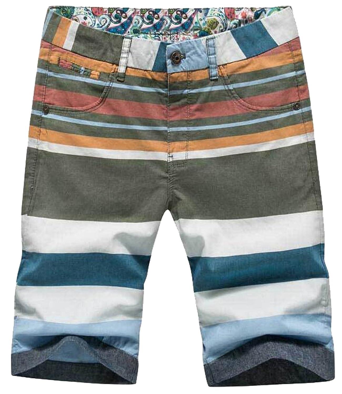 XTX Mens Colorful Color Block Regular Fit Cotton Short Pants