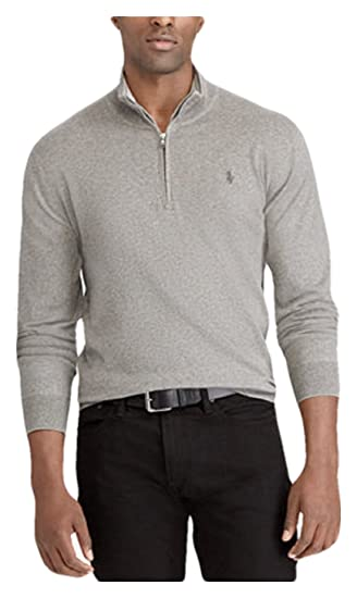 67b8ce2e3b5 RALPH LAUREN Polo Men s Big   Tall Half-Zip Pullover Sweater (Andover Grey