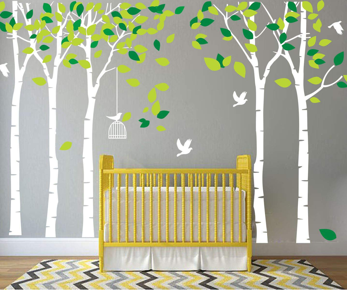 LUCKKYY Large Five Tree Wall Decal Tree Wall Sticker Removable Vinyl Mural Art Wall Stickers Kids Room Nursery Bedroom Living Room Decoration (White+Green) by LUCKKYY