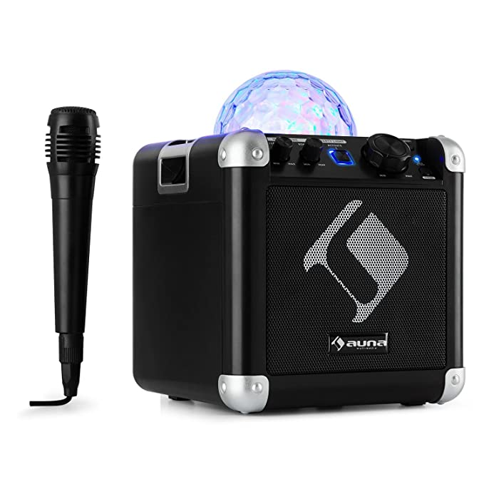 auna BC-10 • Karaoke-Anlage • Mini-Sound-System • Karaoke-System • LED-Stroboskop • 15-Watt-RMS-Ausgangleistung • Bluetooth •