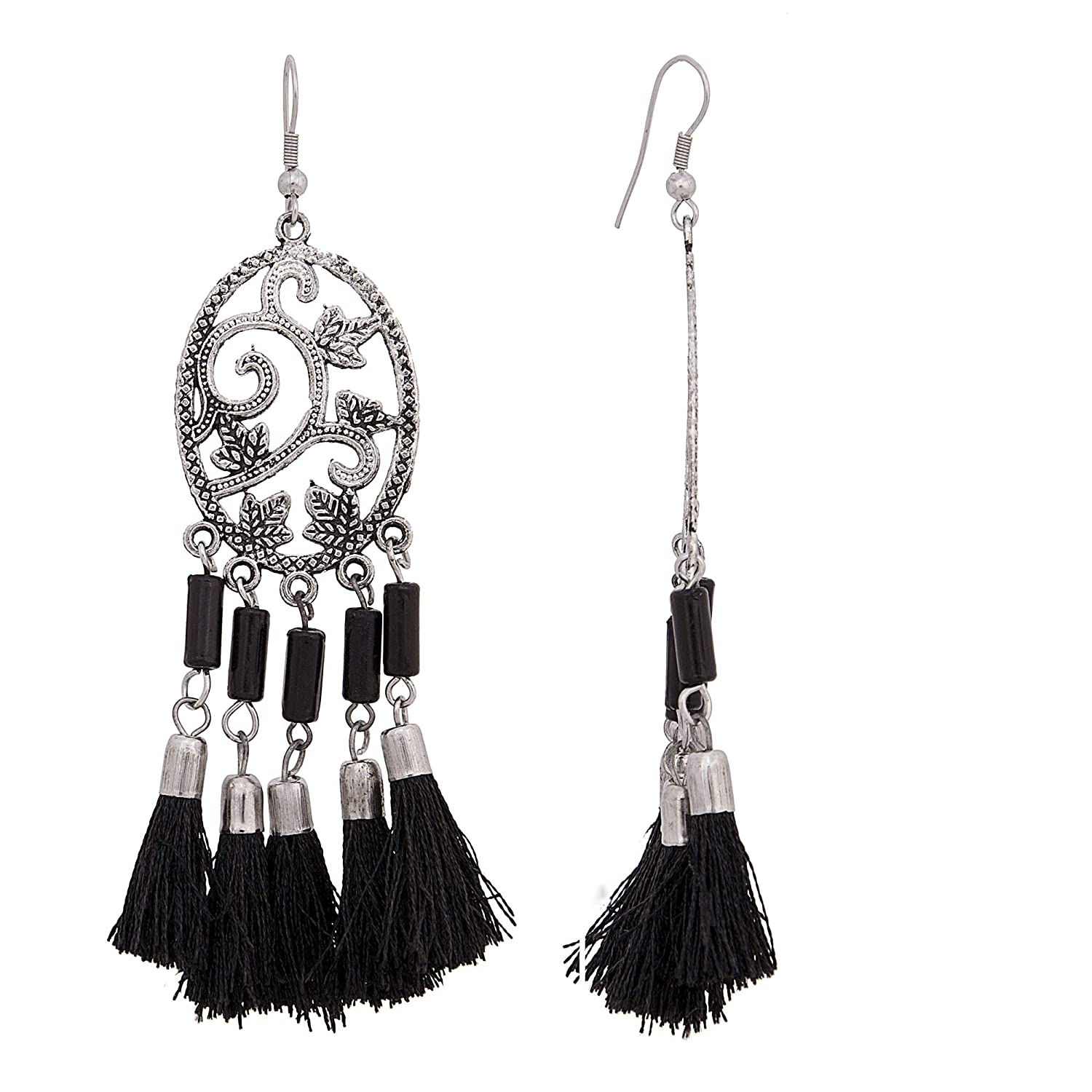 dc4d65e50 Buy Bellazie Black Oxidized Silver Tassel Drop Kashmiri Design Silver  Nickel and Lead-free Earrings Combo for Women Online at Low Prices in India  | Amazon ...