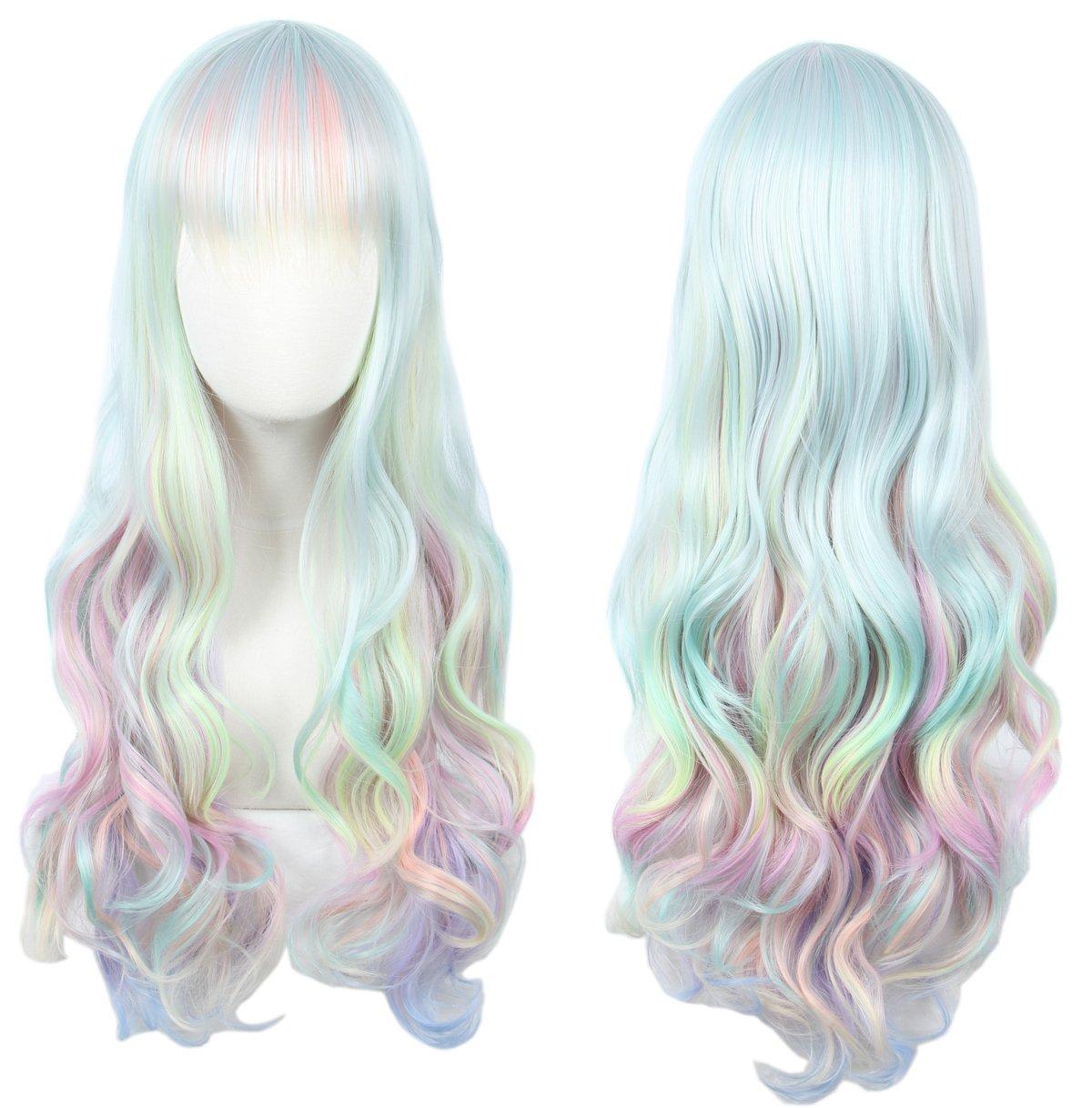 Linfairy Short Bob Harajuku Cosplay Wig Halloween Costume Diamond Wig for Women