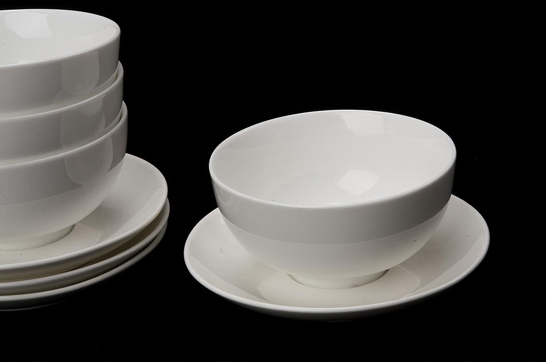 4 x Reisschale / Müslischale / Suppenschale mit Unterteller aus Porzellan Urban Lifestyle