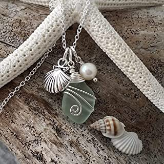 product image for Genuine surf tumbled natural sea glass, Handmade in Hawaii wire wrapped Seashell charm, Freshwater pearl, (Hawaii Gift Wrapped, Customizable Gift Message)