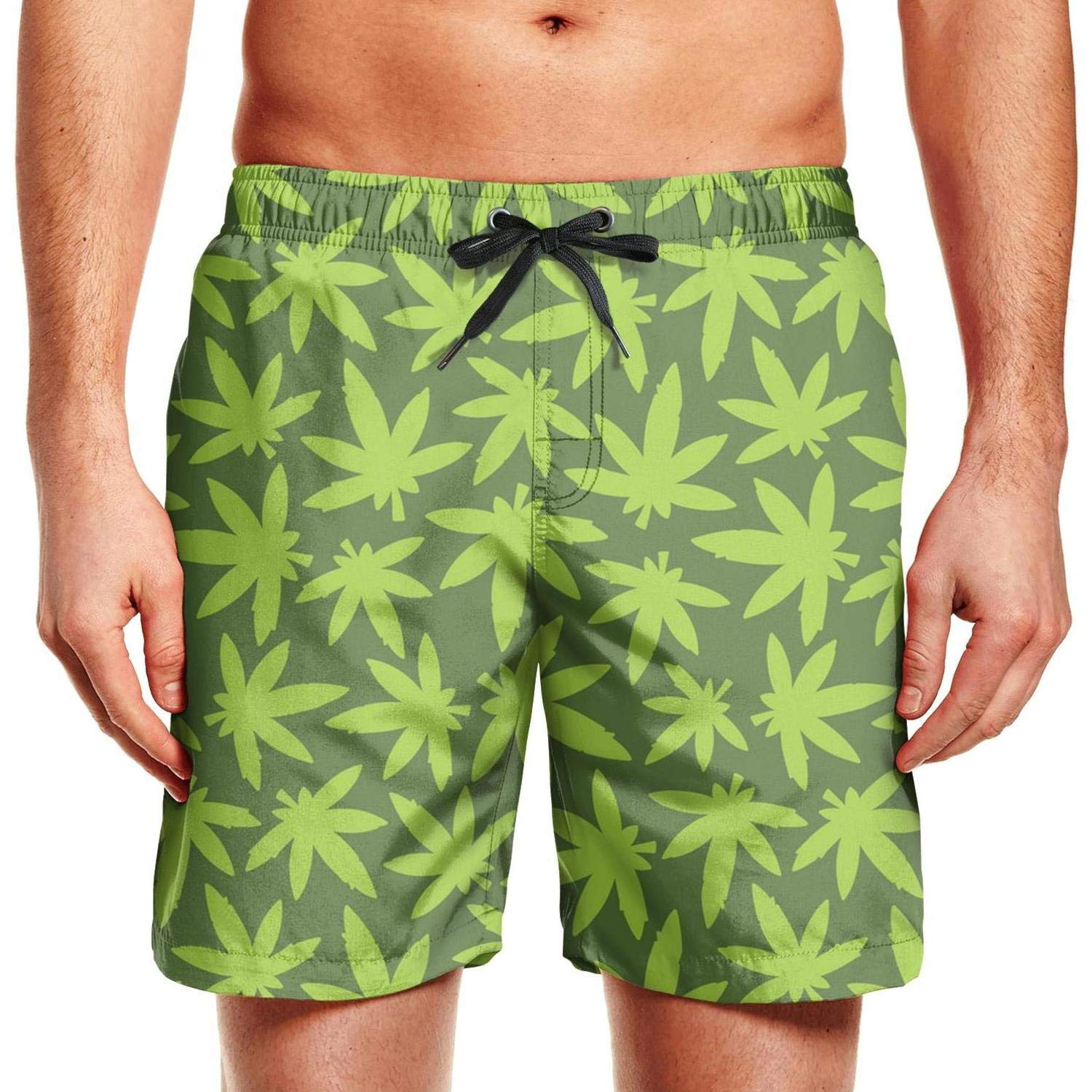 chchht Mens Beach Shorts Marihuana Cannabis Ganja Weed Solid Board Swim Trunks Side Pockets Board Shorts