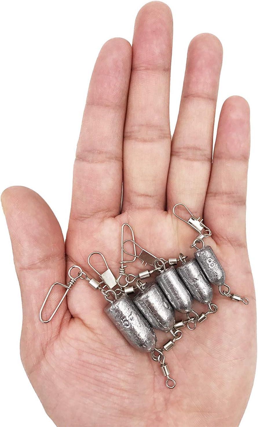 8G 10/g 15/g 20/g 25/g Disponible MilepetUK 10/pcs P/êche plombs Poids Bullet Plomb Sinker Rolling pivotant Interlock Snap connecteur Inline