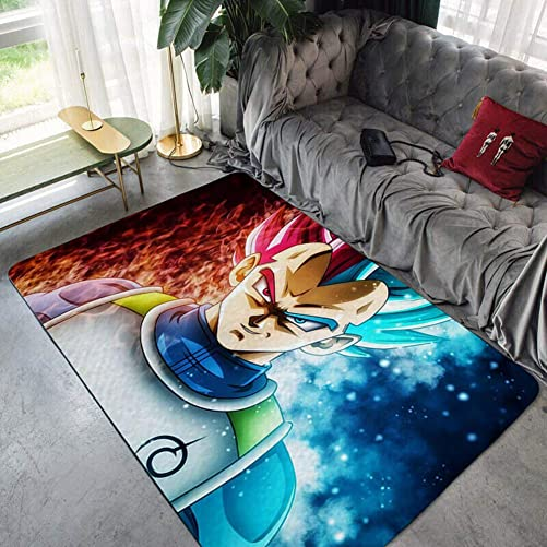 Area Rugs Bedroom Rug Super Soft Carpet Non-Slip mat Modern Dragon Ball Super-Vegeta Anime Cartoon for Children Play Solid Home Decorator Floor Rug and Carpets L103,A,78.7×118.1inch 6.5ftx9.8ft