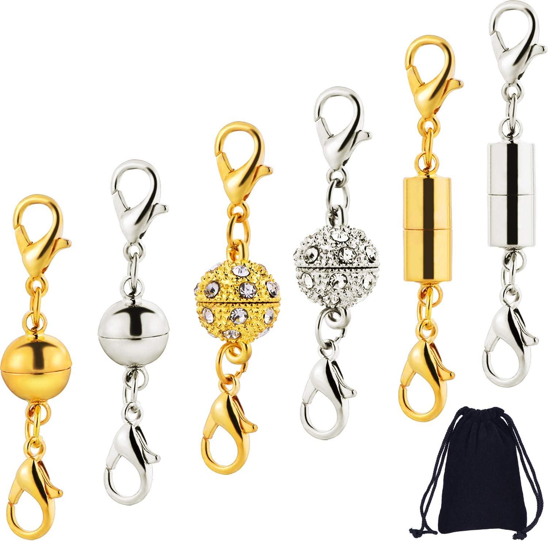 12 Piezas de Cierre de Langosta Magnético para Fabricación de Bisutería Collar Pulsera, Broches de Langosta de Estilo de Bola de Diamantes de Imitación, Cilíndrico y Tono de Bola (Plateado y Dorado)