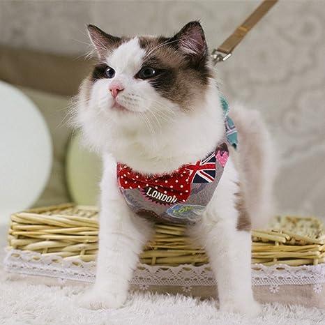Pinji Arnés Ajustable y Correa para Gatos Ropa con Lazo Elegente Multiuso para Mascotas Cómodo Diseño