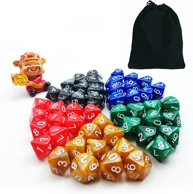 Unidades diferentes colores, D10, 50pcs, 5x 10pcs 10lados dados mármol Polyhedral dados D10Set