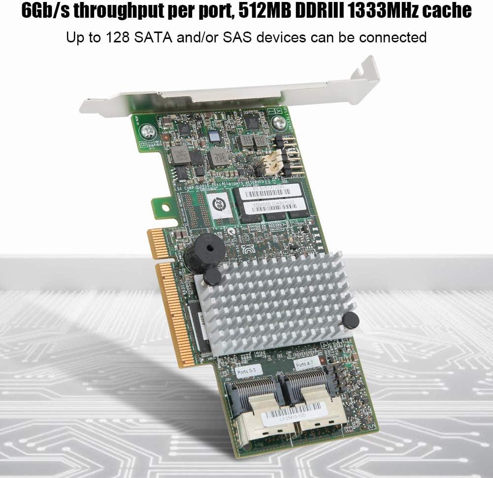 Bewinner LSI MegaRAID 9272-8I SAS RAID 5 6 512-Cache-Array-Karte SAS-Anschl/üssen Zwei Mini-SAS SFF-8087 x4-Anschl/üsse Dual-Core-Master-Chip-Festplatten-Array-Karte mit acht internen SATA