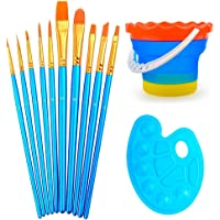 Professional Paint Brush Set of 10 - Nylon Hair Artist Brush Set With Paint Tray Palette and Foldable Outdoor Cleaning Color Bucket -Best for Watercolor Oil Acrylic Painting