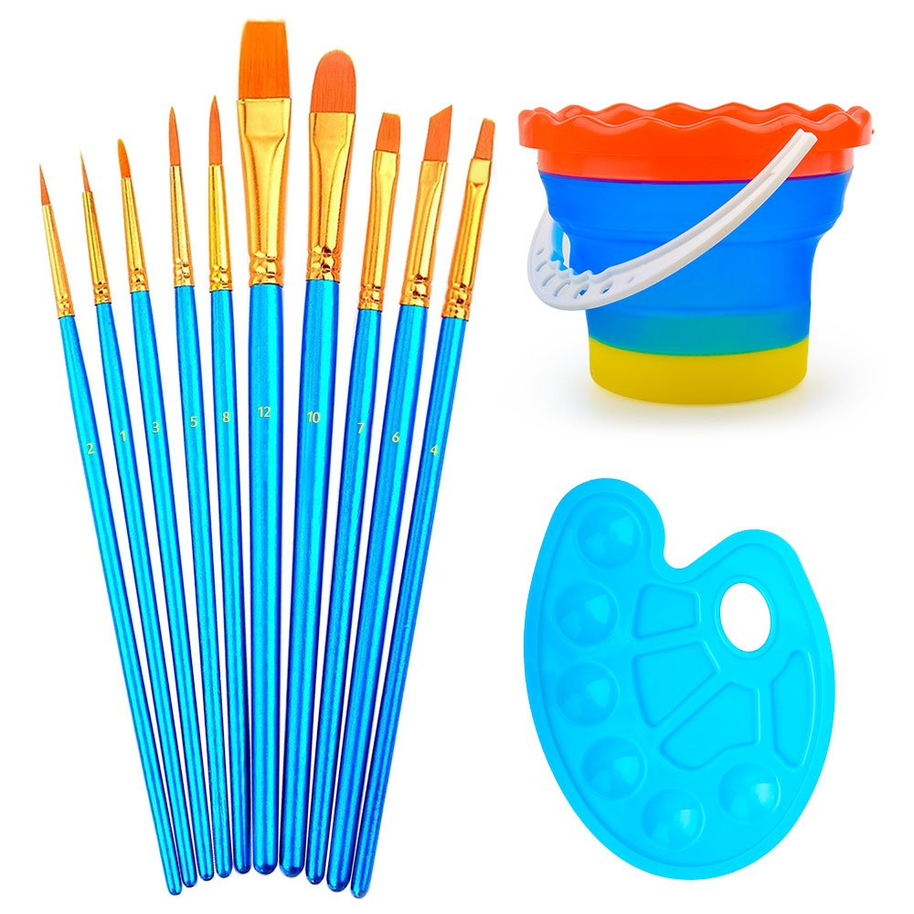 Professional Paint Brush Set of 10 - Nylon Hair Artist Brush Set With Paint Tray Palette and Foldable Outdoor Cleaning Color Bucket -Best for Watercolor Oil Acrylic Painting ELOKI 4336965816
