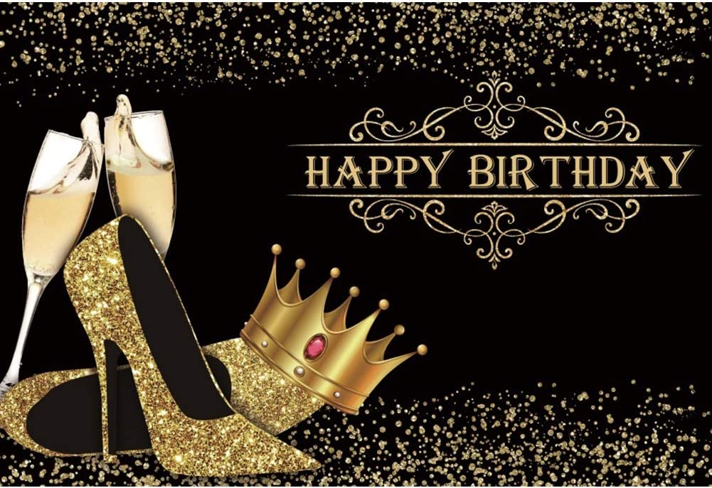 DORCEV Happy Birthday Backdrop Lady Queen Theme Birthday Party Lady Birthday Prom Party Background Shiny Golden Crown High Heel Shoes Party Cake Table Banner Birthday Photo Studio Props