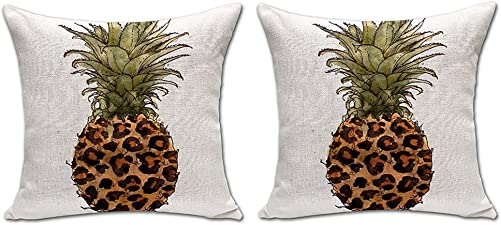 ChezMax Pineapple Throw Pillow Insert 2 PCS Cotton Linen Square Stuffed Cushion for Home Car Seat Chair Deck